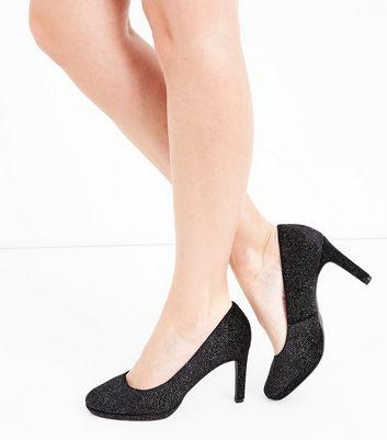 Black Comfort Velvet Glitter Court Shoes New Look