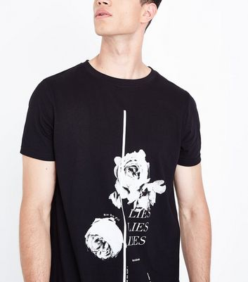 Black Rose Lie Lie Lie Print T-Shirt New Look