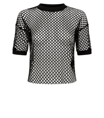 Black Mesh Ringer T-Shirt New Look