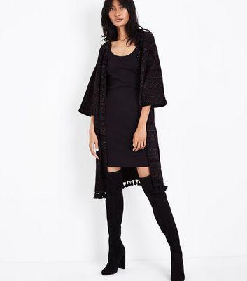 Black Fine Knit Tassel Hem Longline Kimono New Look