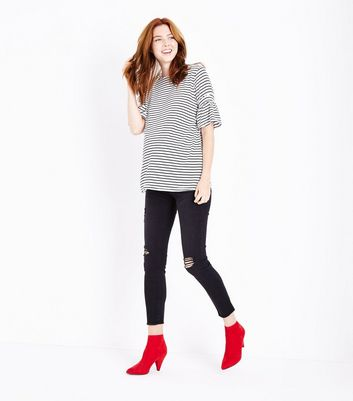 Maternity White Stripe Shirred Sleeve T-Shirt New Look