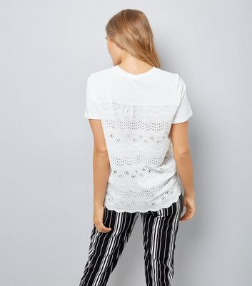 Maternity White Broderie Back T-Shirt New Look