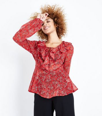Tall Red Floral Frill Trim Tie Neck Blouse New Look