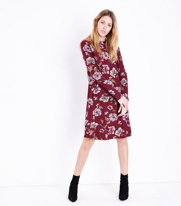 Tall Red Floral High Neck Swing Dress New Look