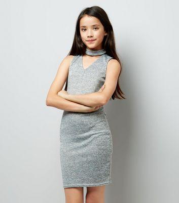 Grey Fine Knit Choker Bodycon Dress New Look