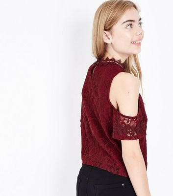 Teens Burgundy Lace Cold Shoulder Top New Look