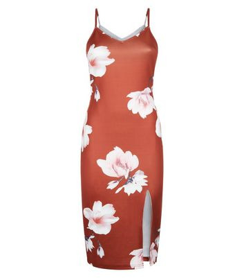Parisian Brown Digital Floral Print Bodycon Dress New Look