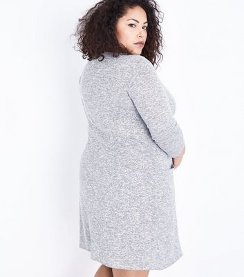 Curves Grey Marl Fine Knit Tunic Dress New Look