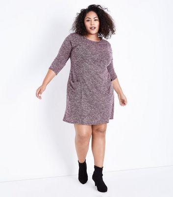 Curves Burgundy Marl Fine Knit Tunic Dress New Look