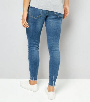 Maternity Blue Raw Hem Over Bump Skinny Jeans New Look