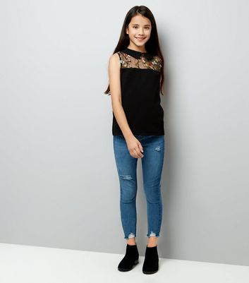 Teens Black Embroidered Sheer Panel Top New Look