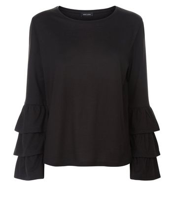 Black Frill Layer Sleeve Top New Look