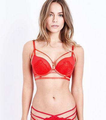 Red Strappy Lace Bra New Look