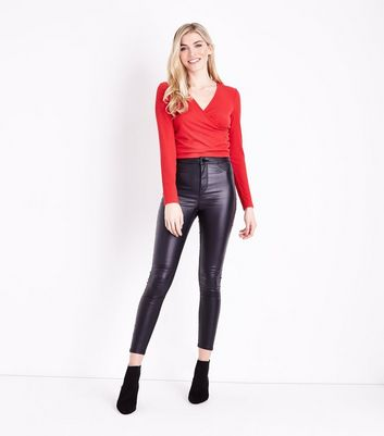 Red Ribbed Wrap Front Top New Look