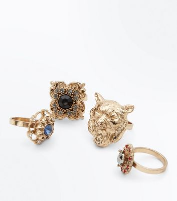 4 Pack Gold Lion and Gem Rings New Look