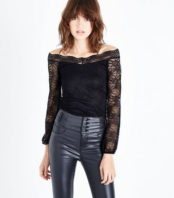 Black Lace Sweetheart Neck Top New Look