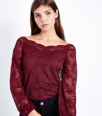 Burgundy Lace Sweetheart Neck Top New Look