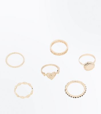 6 Pack Gold Embellished Rings New Look