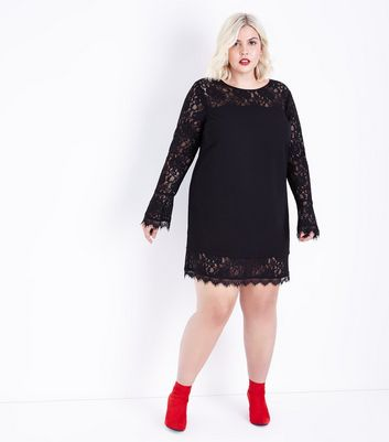 Curves Black Lace Trim Bell Sleeve Tunic Dress New Look