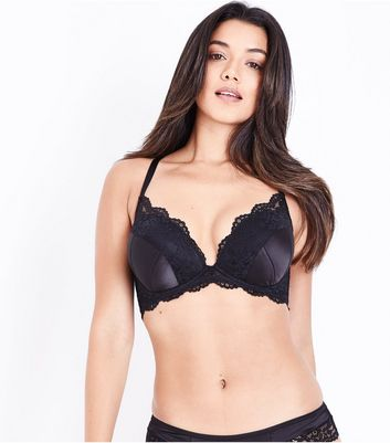 Black Lace Trim Satin Bra New Look
