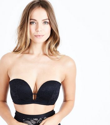 Black Lace Longline Plunge Strapless Push Up Bra New Look