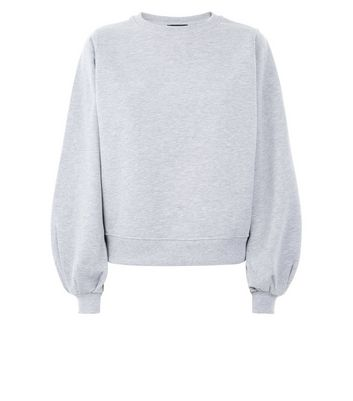 Grey Balloon Sleeve Sweatshirt New Look