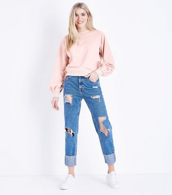 Shell Pink Balloon Sleeve Sweatshirt New Look