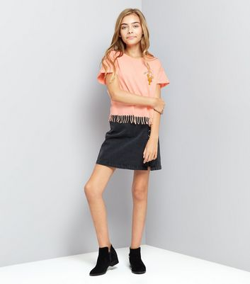 Teens Lobster Slogan Front Tassel Hem T-Shirt New Look