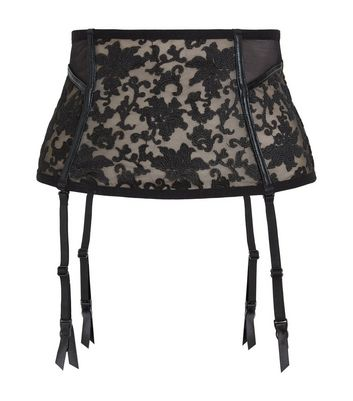 Black Baroque Embroidered Corset New Look