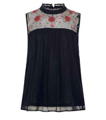 Teens Black Floral Embroidered Panel Mesh Top New Look