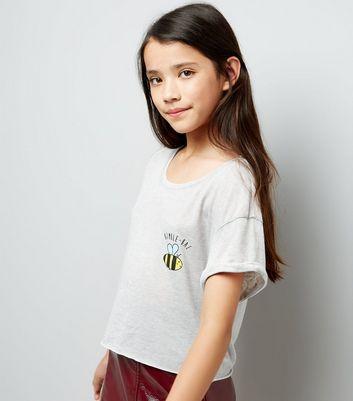 Teens Grey Bumble Bae Slogan Crop Top New Look