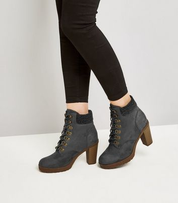 Wide Fit Grey Suedette Borg Cuff Lace Up Boots New Look