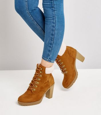 Wide Fit Tan Suedette Borg Cuff Lace Up Boots New Look