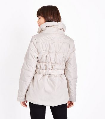 Cream High Neck Belted Puffer Jacket New Look
