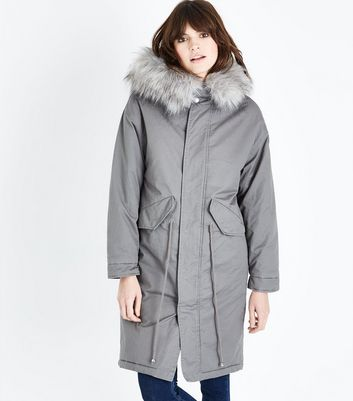 Pale Grey Longline Faux Fur Trim Parka New Look