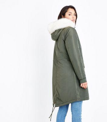 Khaki Contrast Lined Faux Fur Trim Parka New Look