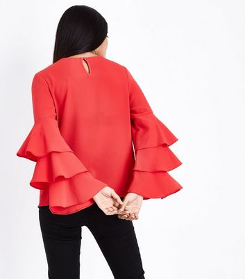 Petite Red Tiered Bell Sleeve Top New Look