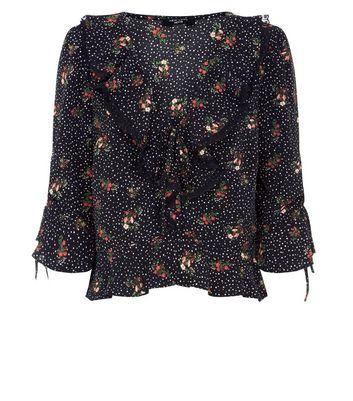 Petite Black Floral Star Print Frill Trim Top New Look