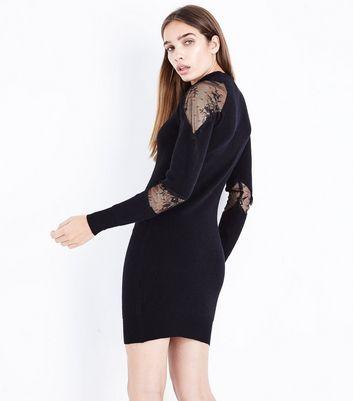 Blue Vanilla Black Lace Panel Jumper Dress New Look
