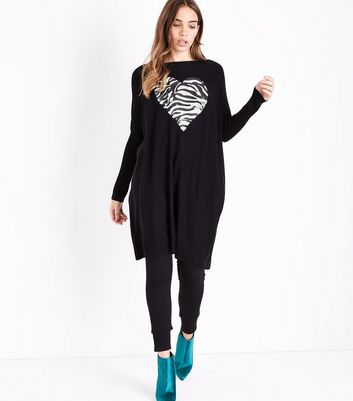 Blue Vanilla Black Embellished Zebra Heart Longline Top New Look
