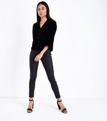 Petite Black Velvet Pyjama Style Shirt New Look
