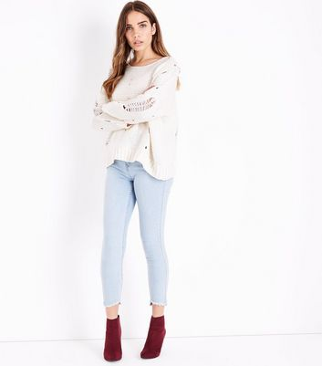 Pink Vanilla Cream Ripped Knit Jumper New Look
