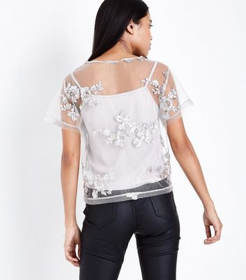 Petite Grey Floral Sequin Embroidered Mesh T-Shirt New Look