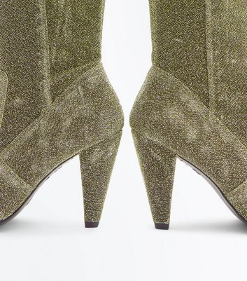 Wide Fit Gold Glitter Cone Heel Over The Knee Boots New Look