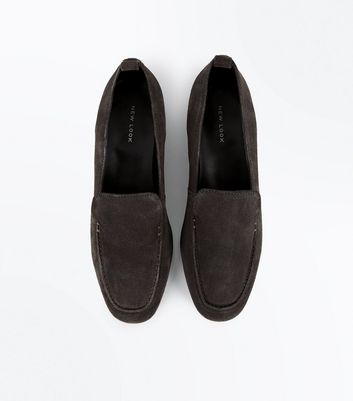 Dark Grey Suede Loafers New Look