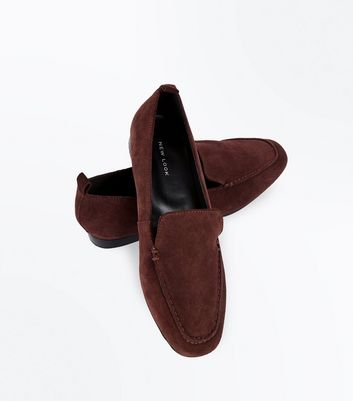 Dark Red Suede Loafers New Look