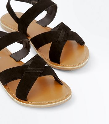 Black Leather Cross Strap Sandals New Look