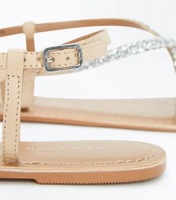 Nude Embellished Strappy Sandals New Look
