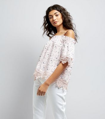 Cameo Rose Pink Floral Print Cold Shoulder Top New Look
