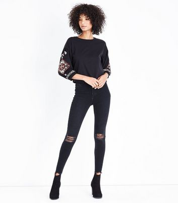 Black Cross Stitch Sleeve Top New Look